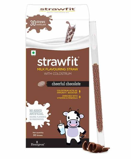 Strawfit Chocolate Milk Flavoring Straws With Colostrum - 30 Pieces