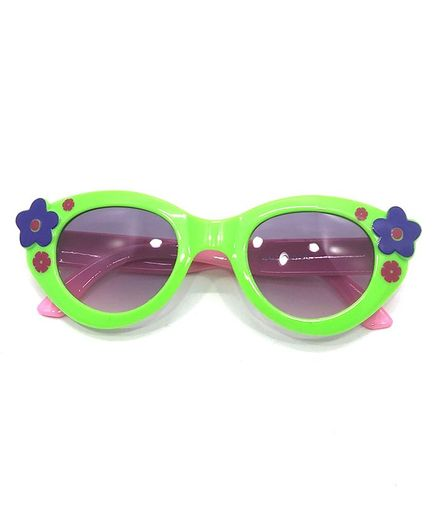Kid-O-World Contrast Rim Flower Sunglasses - Green