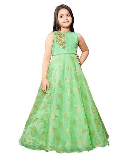 Betty By Tiny Kingdom Tree Print & Flower Embellished Sleeveless Gown - Green