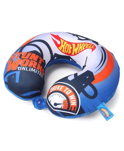 Hot Wheels Plush Neck Support Pillow - Blue