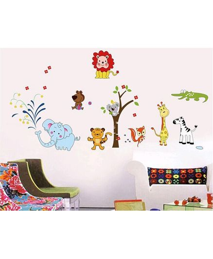 Syga  Cartoon Animals Tree  Wall Sticker - Multicolor