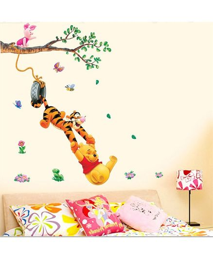 Syga Winnie The Pooh And Tiger PVC Vinyl Wall Sticker - Multicolor