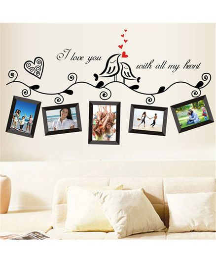 Syga Creative Bird Photo Frame PVC Vinyl Wall Sticker - Multicolor