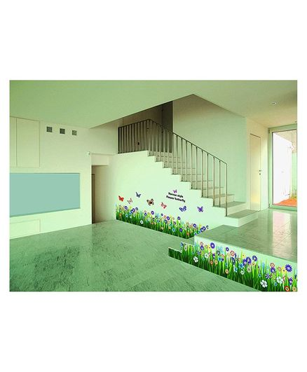 Syga Floral Meadow PVC Vinyl Wall Sticker - Green