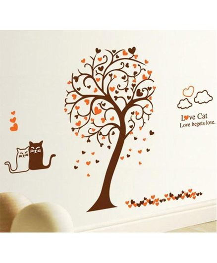 Syga Kitty Uner Tree PVC Vinyl Wall Sticker - Brown Red