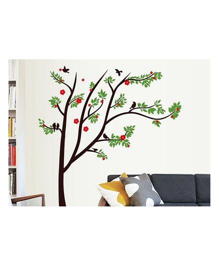 Syga Flower Tree PVC Vinyl Wall Sticker -Green Brown
