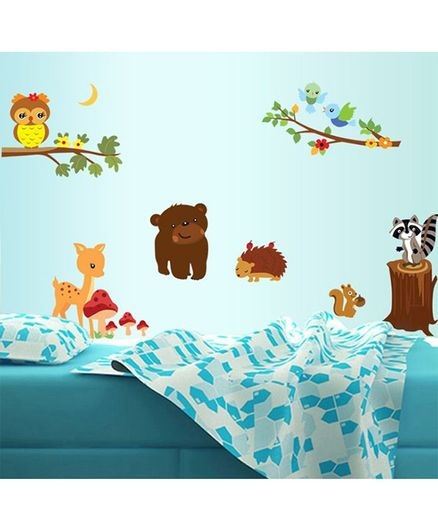 SYGA Tree With Forest Animals PVC Vinyl Wall Sticker -Multicolour