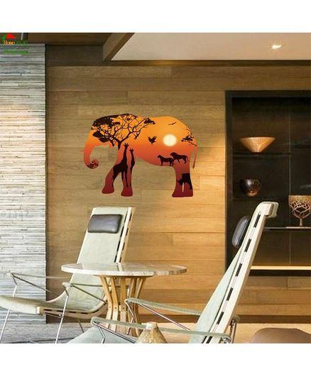 Syga Forest Elephant Silhouette Wall Sticker - Multicolour