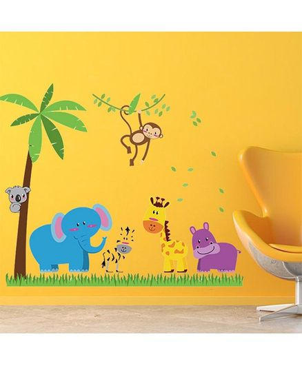 Syga Cartoon Animals Wall Sticker - Multicolor