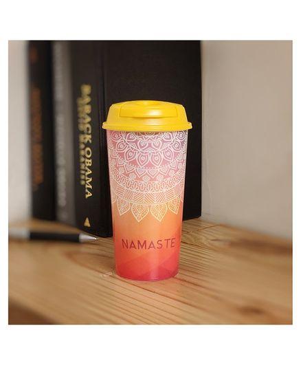 Stallion Barware Designer Tumbler With Lid Namaste Print Multicolour - 475 ml