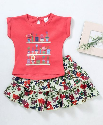 Olio Kids Short Sleeves Tee And Layer Skirt Floral Motifs - Pink Light Green