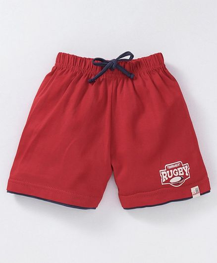 Olio Kids Shorts With Drawstring Rugby Print - Red
