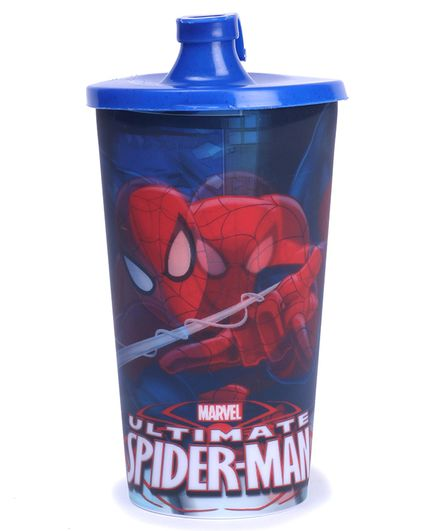 Marvel Spider Man 3D Big Plastic Spout Sipper With Lid Blue - 700 ml