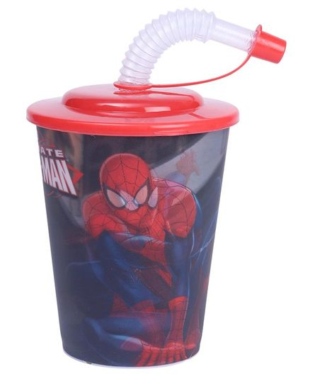 Marvel Spiderman 3D Print Cup With Straw & Lid Red - 400 ml