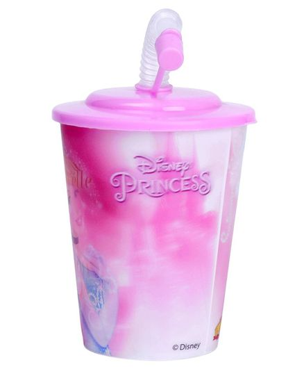 Disney Princess 3D Small Plastic Cup With Straw & Lid Pink - 400 ml