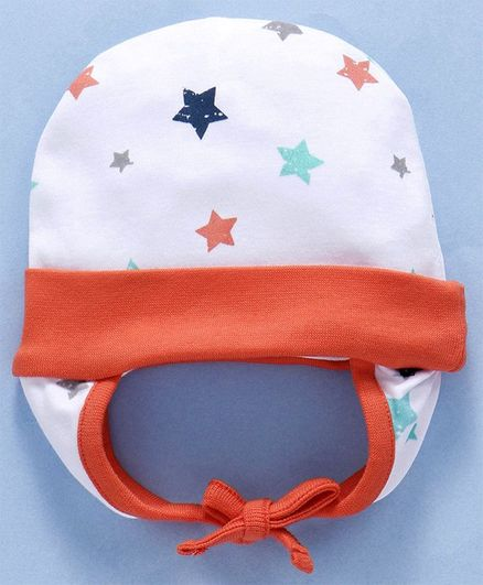Babyhug Cotton Printed Cap With Ear Flaps - Orange