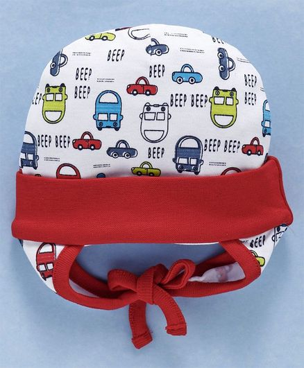 Babyhug Cotton Tie Knot Caps Car Print - Red