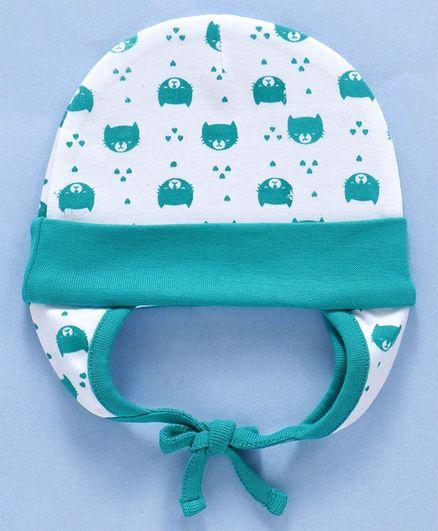 Babyhug Cotton  Printed Cap With Ear Flaps - Dark Green & White