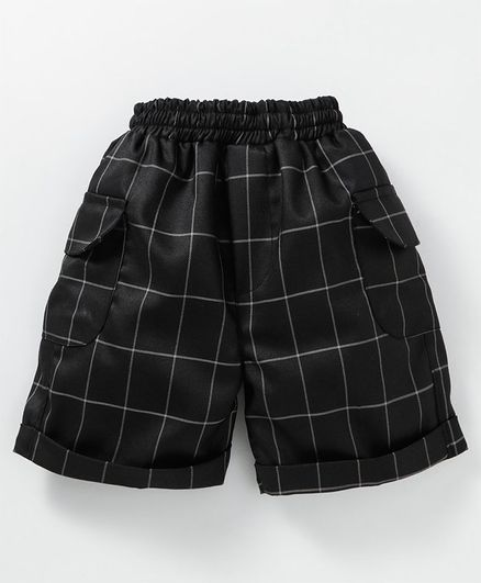Knotty Kids Checked Shorts With Side Pockets - Black