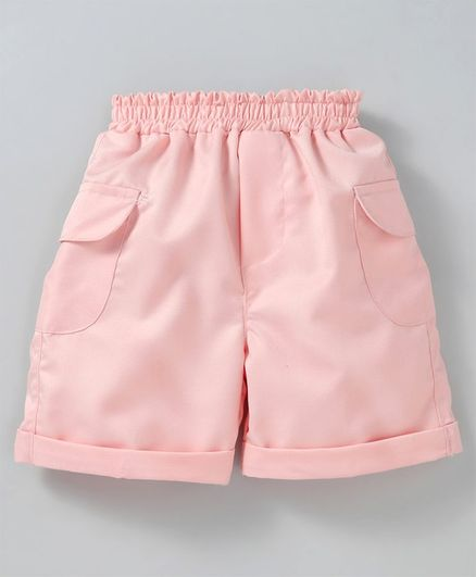 Knotty Kids Solid Shorts With Side Pockets - Pink