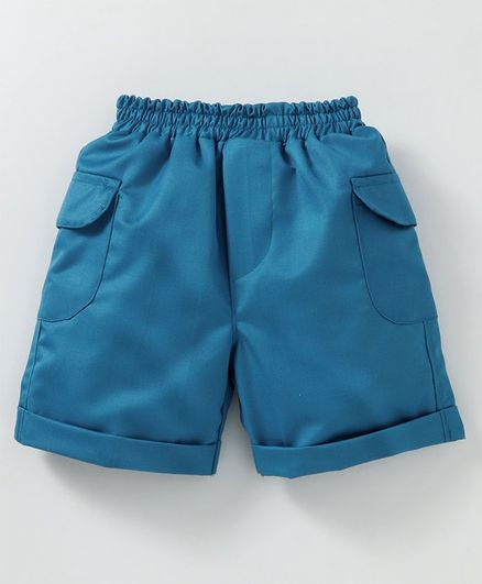 Knotty Kids Solid Shorts With Side Pockets - Green