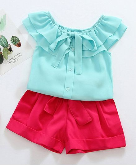 Awabox Cap Sleeves Front Buttoned Falbala Top With Shorts - Blue & Pink