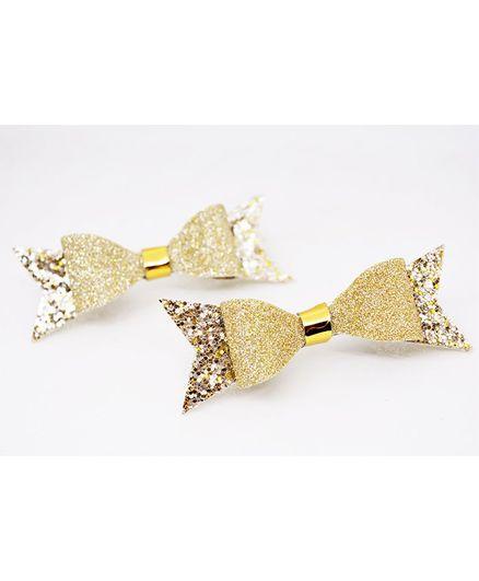 Little Tresses Shimmer Bow Set Of 2 Alligator Clip - Golden