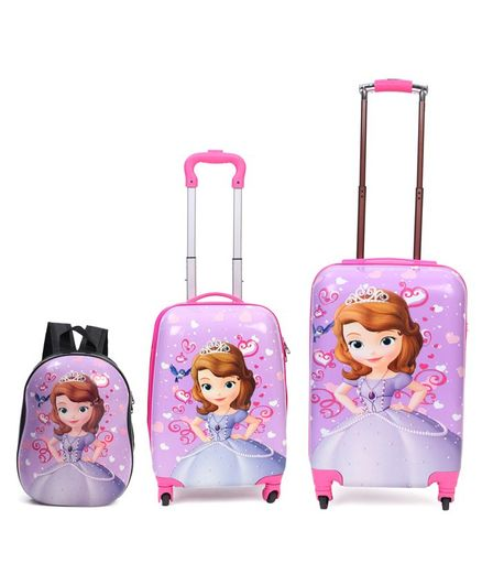Disney Sofia the First Kids Trolley Bags & Backpack Set of 3 - Pink