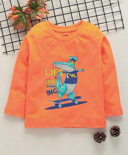 Babyhug Full Sleeves Tee Dinosaur Print - Orange