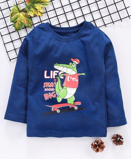 Babyhug Full Sleeves Tee Dinosaur Print - Blue