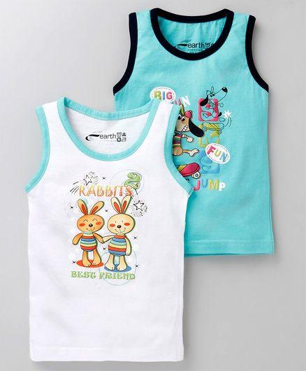 Earth Conscious Combo Of 2 Rabbit Print Sleeveless T-Shirt - White & Blue