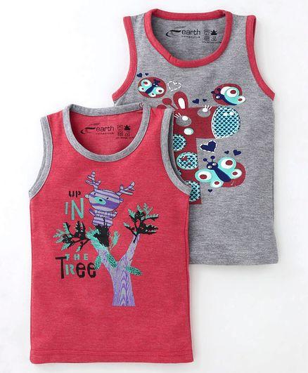 Earth Conscious Combo Of 2 Printed Sleeveless T-Shirt - Grey & Pink