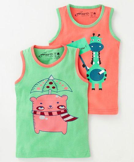 Earth Conscious Combo Of 2 Bear Printed Sleeveless T-Shirt - Orange & Green