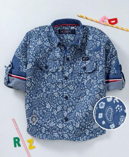 Noddy Paisley Print Full Sleeves Shirt - Blue