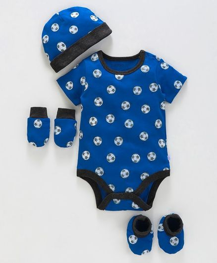 Babyoye Cotton Clothing Gift Football Print Set of 4 - Royal Blue