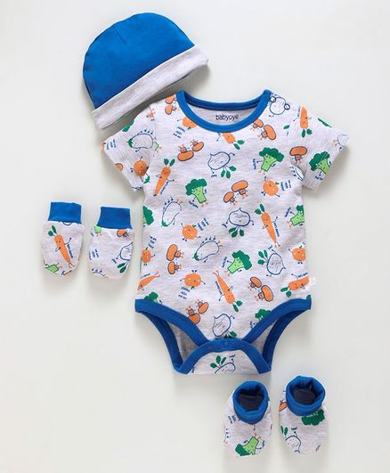 Babyoye Cotton Clothing Gift Allover Veggie Print Set of 4 - White