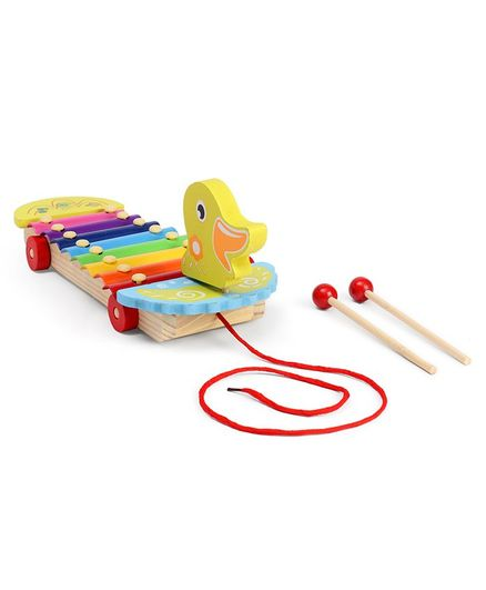 Hrijoy Duck Wooden Pull Along Xylophone - Multicolor