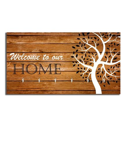 Studio Shubham Welcome to Our Home Wooden Key Holder - Brown