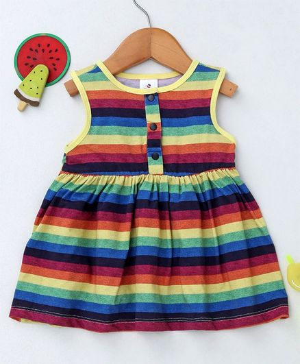Ollypop Sleeveless Striped Frock - Yellow Multicolour
