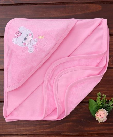 Simply Cotton Hooded Towel Teddy Patch - Pink