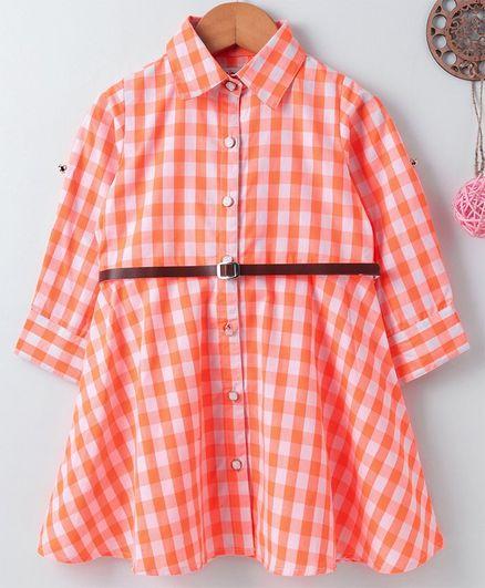 Soul Fairy Checkered Full Sleeves Dress & Belt Set - Orange