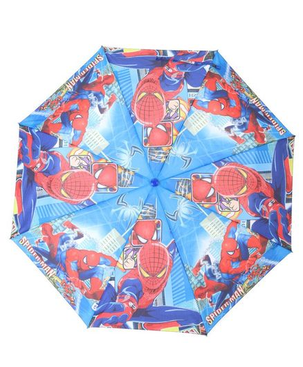 John's Umbrellas With Whistle Spiderman Print - Blue Red
