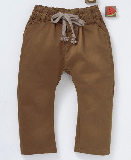 Olio Kids Full Length Solid Drawstring Pant - Brown