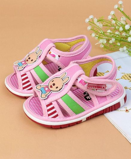 Cute Walk by Babyhug Sandals Bunny Patch - Light Pink