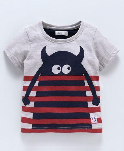 Babyoye Half Sleeves Tee Monster Print - Grey