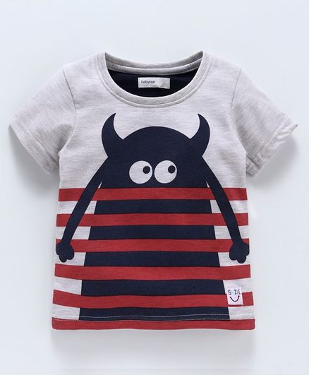 Babyoye Half Sleeves Tee Monster Print - Grey