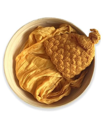 Bembika Baby Photography Props knitted Crochet Cap & Wrap - Yellow