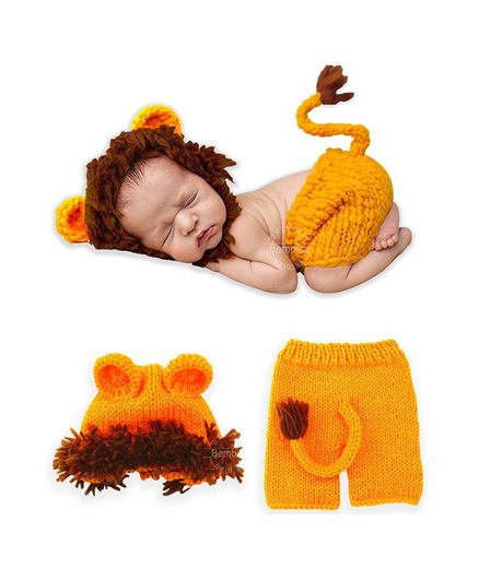 Bembika Newborn Lovely Knitted Lion Hat & Shorts Set of 2 - Yellow Brown
