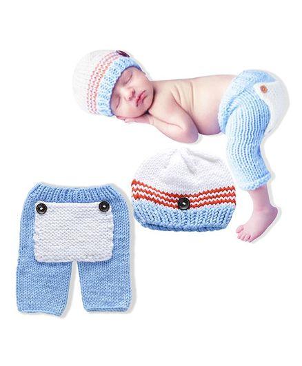 Bembika Pant And Cap Photoprop Set - White Blue