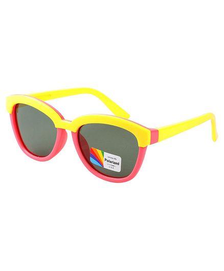 Spiky Colour Block UV Protected Plastic Sunglasses - Yellow